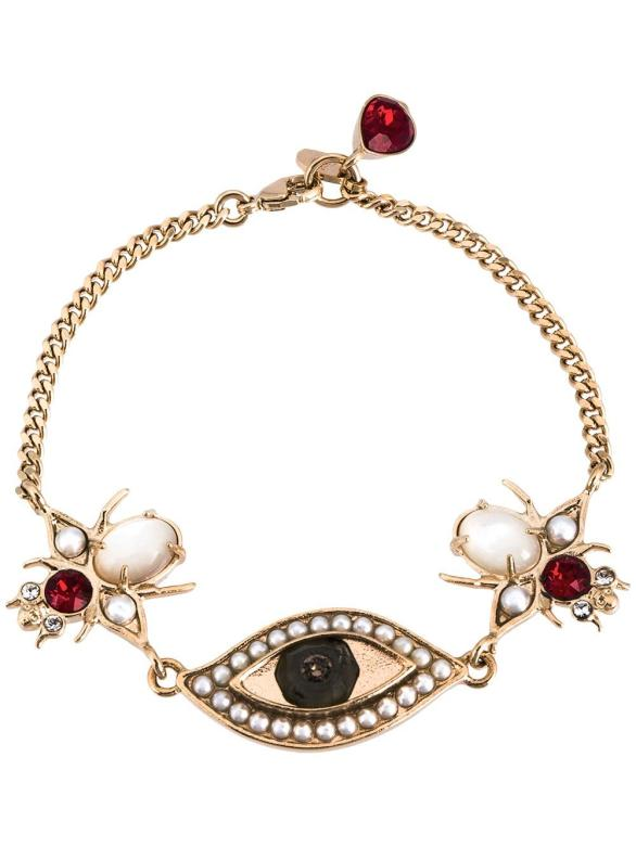 Alexander McQueen eye and beetle charm bracelet