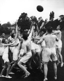 A summer game of touch rugby at Marling School, Stroud, Gloucestershire, 11th August 1937. (Photo by Fox Photos/Hulton Archive/Getty Images)