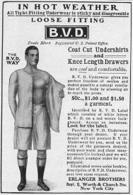 Advertisement for BVD undershirts and drawers underwear by Erlanger Brothers in New York, 1907. (Photo by Jay Paull/Getty Images)
