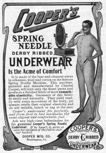 Advertisement for Cooper's spring needle derby ribbed underwear by the Cooper Manufacturing Company in Bennington, Vermont, 1905. (Photo by Jay Paull/Getty Images)