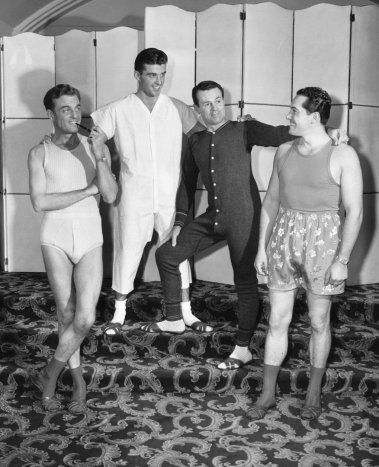 Four men dressed in underwear (B&W)
