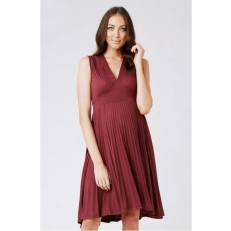 Claret-V-Neck knife pleat dress