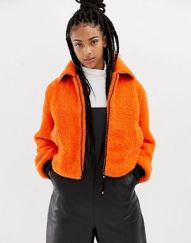 Collusion ASOS orange Teddy Bear Bomber