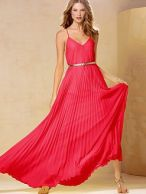 Knife pleat maxi dress pink red