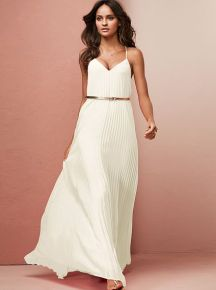 Knife pleat maxi dress