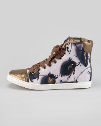 Lanvin Beetle print High Top Sneaker Neiman Marcus