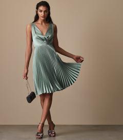 Reiss Alicia Knife Pleat Midi Dress Aquamarine blue
