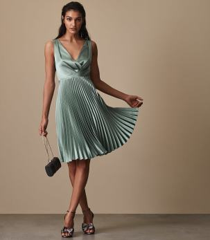 Reiss Alicia Knife Pleat Midi Dress Aquamarine blue