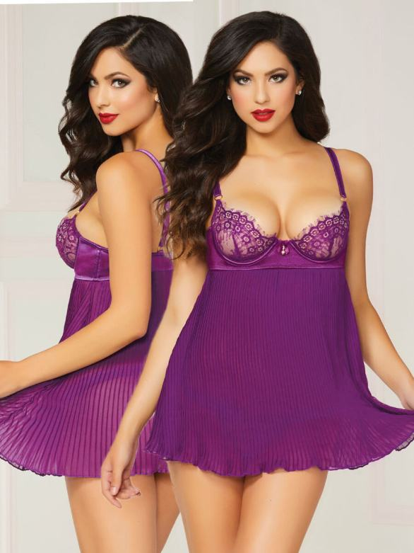SEVEN 'TIL MIDNIGHT PRETTY IN PURPLE BABYDOLL SET knife pleat barenecessities.com $32
