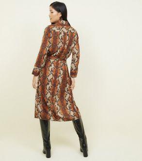 New Look Brown Snakeskin Midi Shirt Dress