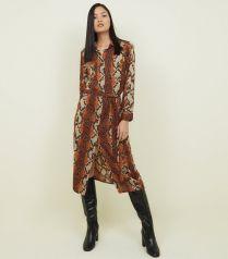 New Look Brown Snakeskin Midi Dress