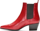 St. Laurent Red Snakeskin Boots