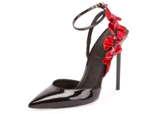St. Laurent Patent and Snakeskin Floral Heels