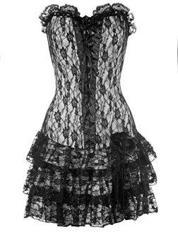 Steampunk long corset dress lace