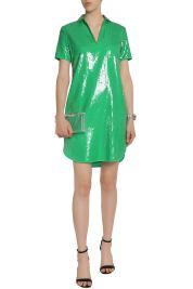 Halston Heritage Green sequin shirt dress model