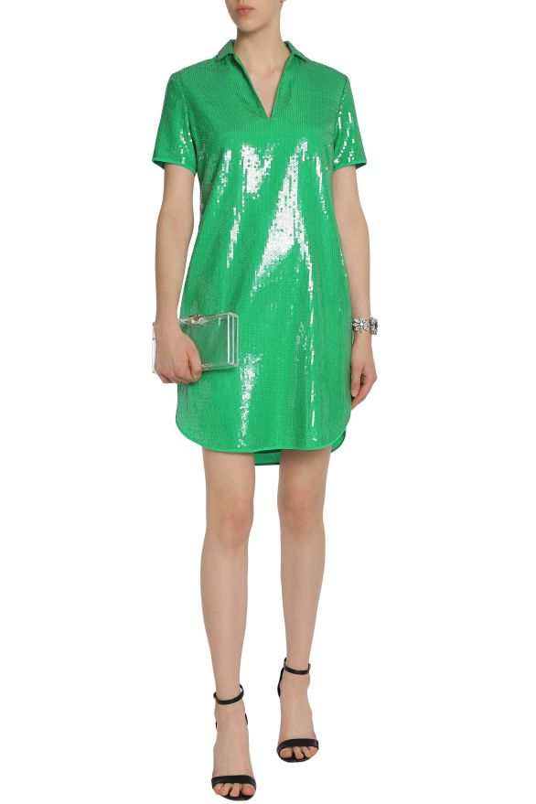 Halston Heritage Green sequin shirt dress model