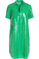 Halston Heritage Green sequin shirt dress