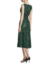 J. Mendel Sleeveless Sequined Calla Lily Dress, Spruce-Ultramarine back