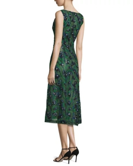 J. Mendel Sleeveless Sequined Calla Lily Dress, Spruce-Ultramarine back