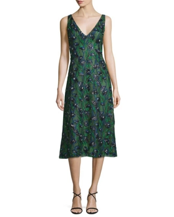J. Mendel Sleeveless Sequined Calla Lily Dress, Spruce-Ultramarine