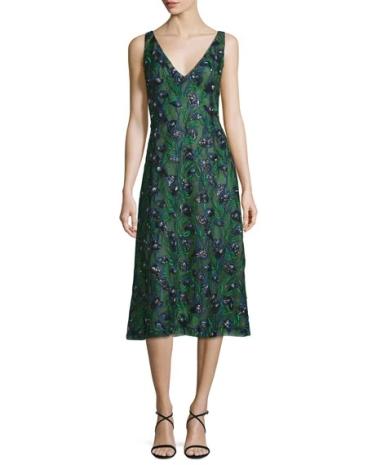 J. Mendel Sleeveless Sequined Calla Lily Dress, Spruce-Ultramarine