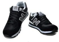 New Balance 574 Black Grey Running Shoes