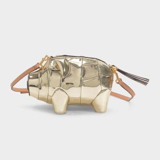 Tory Burch Metallic Pig Mini Bag in Gold Calfskin $335