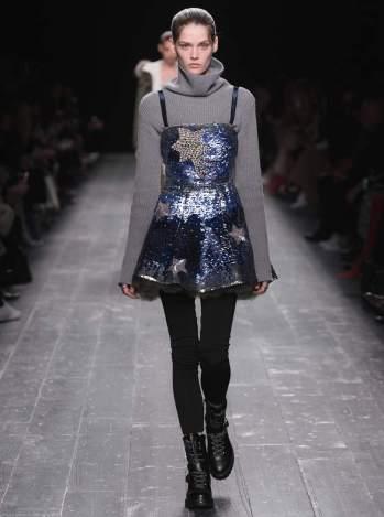 Valentino Crystal-embellished sequinned silk mini dress runway