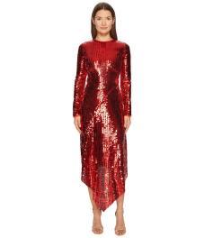 preen-by-thornton-bregazzi-Red-Clarissa-Sequin-Long-Sleeve-Dress