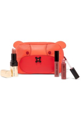 anya hindmarch leather-trimmed shell cosmetics case red