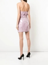 fleur du mal pvc paperbag dress back- pink