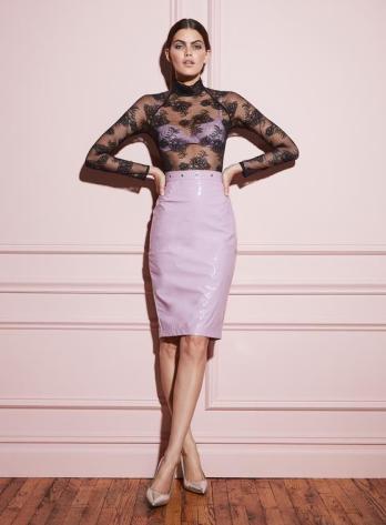 fleur du mal pvc pencil skirt - pink 2