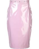 fleur du mal pvc pencil skirt - pink