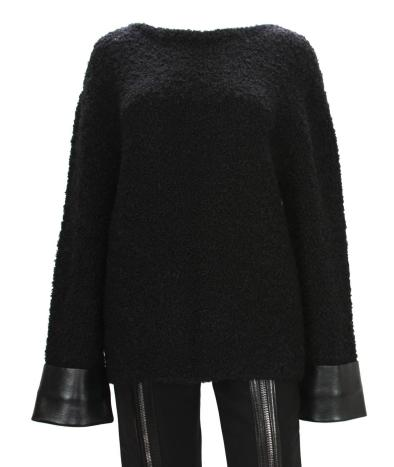 Gucci bouclé and leather black sweater