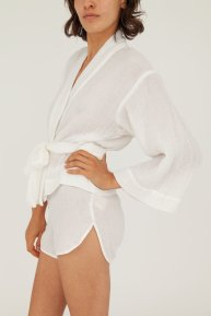Hamabla wrap top and shorts made in LA ivory