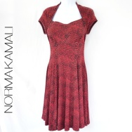 Normal Kamali red snakeskin fit and flare dress