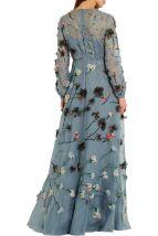 Valentino Appliqued silk organza gown blue 1970's flashback model back