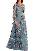Valentino Appliqued silk organza gown blue 1970's flashback model