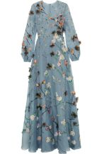 Valentino Appliqued silk organza gown blue 1970's flashback