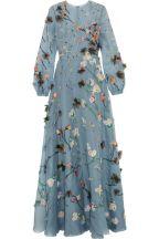 Valentino Appliqued silk organza gown blue 1970's flashback