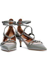 VALENTINO GARAVANI Love Latch eyelet patent grey shoes 2