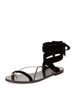 Valentino Velvet Tie Sandal black $595