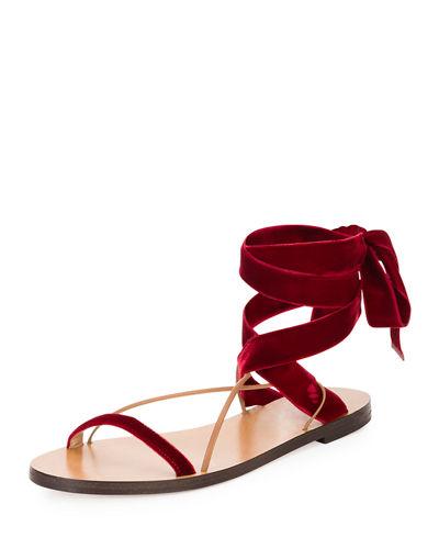 Valentino Velvet Tie Sandal Red