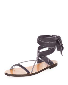Valentino Velvet Tie Sandal sky blue