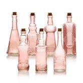 7pc pink vintage glass wedding bottle set assorted decorative designs retro