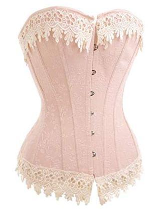 Alivila.Y Fashion Premium Quality Sexy Vintage Floral Lace Trim Corset Bustier retro pink
