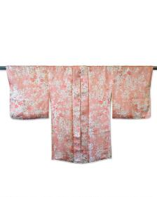 One-of-a-Kind Vintage Pink Silk Haori with White and Pink Floral retro