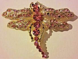 Vintage Art Nouveau Style Crystal Rhinestones gold Big Gorgeous Pink Dragonfly retro