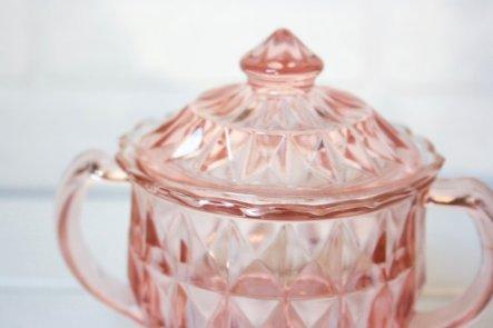 Vintage Pink Depression Glass Cut Glass Sugar Bowl retro
