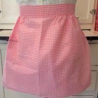 Vintage Pink Gingham-Apron-Retro